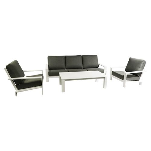 Lincoln Sofa Loungeset Wit/Mosgroen