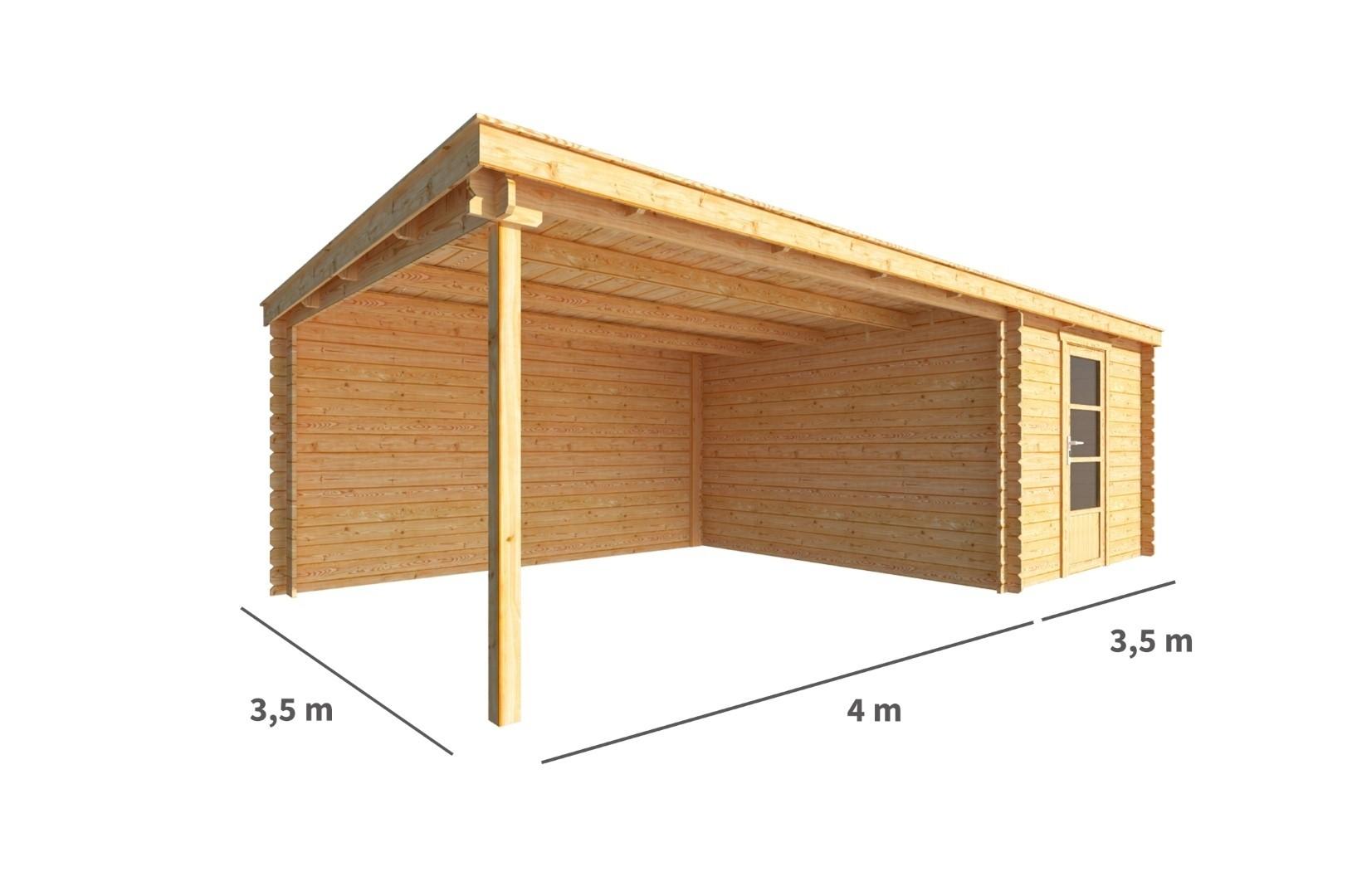 Blokhut met overkapping Els 750 cm bij 350 cm diep Lessenaarsdak