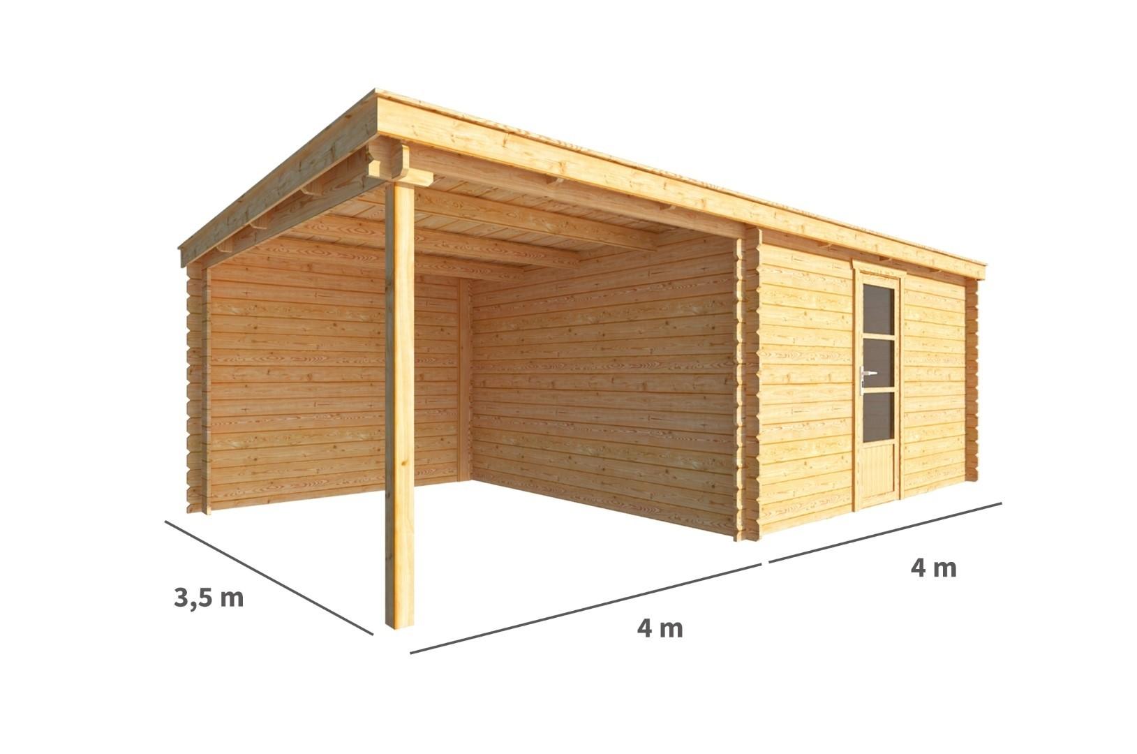 Blokhut met overkapping Els 800 cm bij 350 cm diep Lessenaarsdak