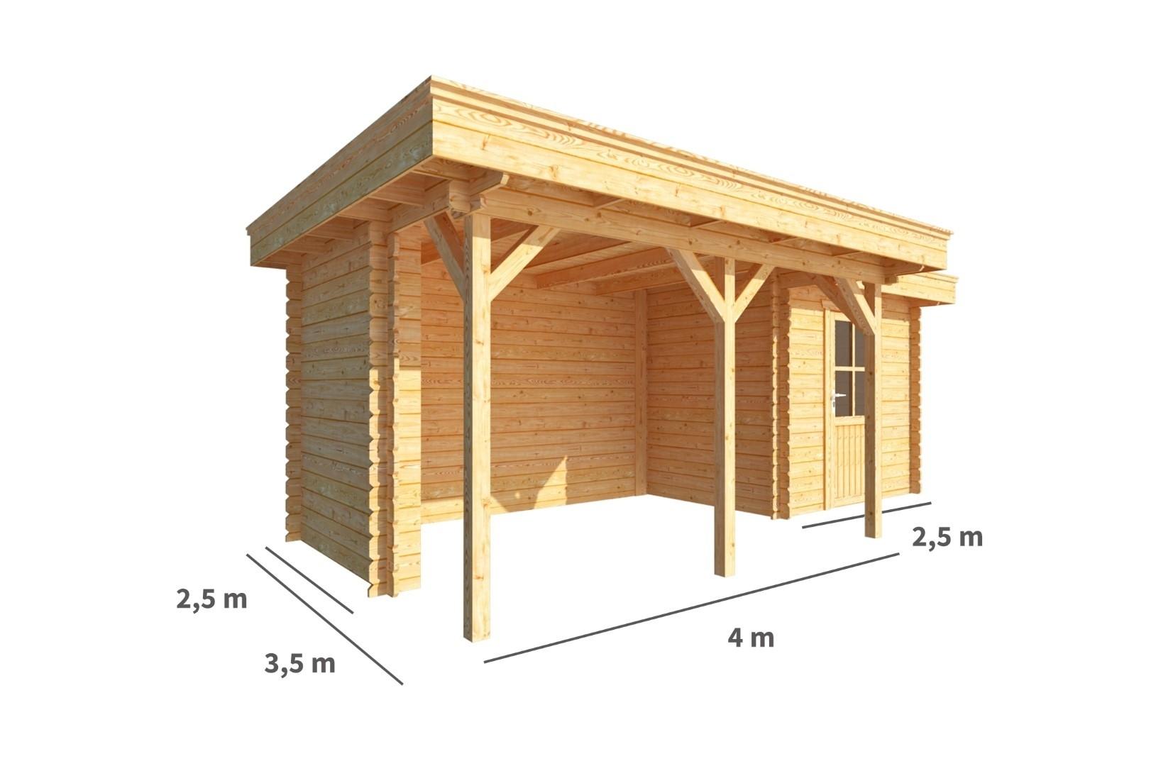 Blokhut met overkapping Lisa 650 cm bij 250 cm diep Plat dak