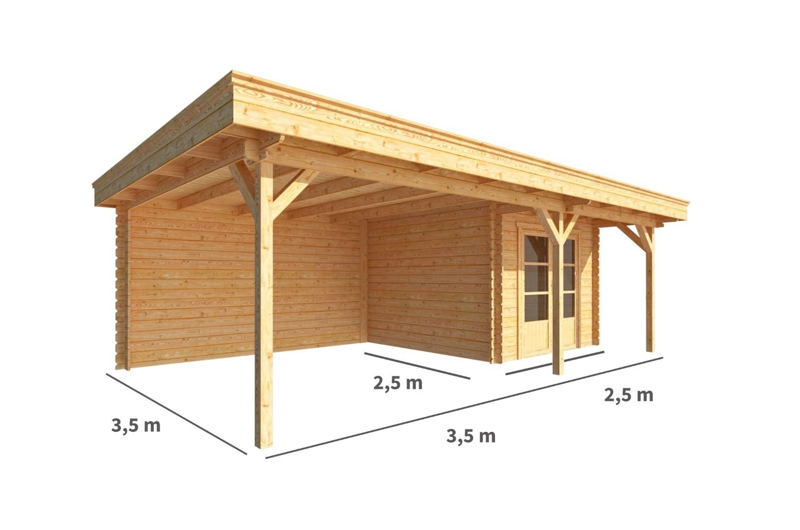 Blokhut met overkapping Lisa 600 cm bij 250 cm diep Plat dak
