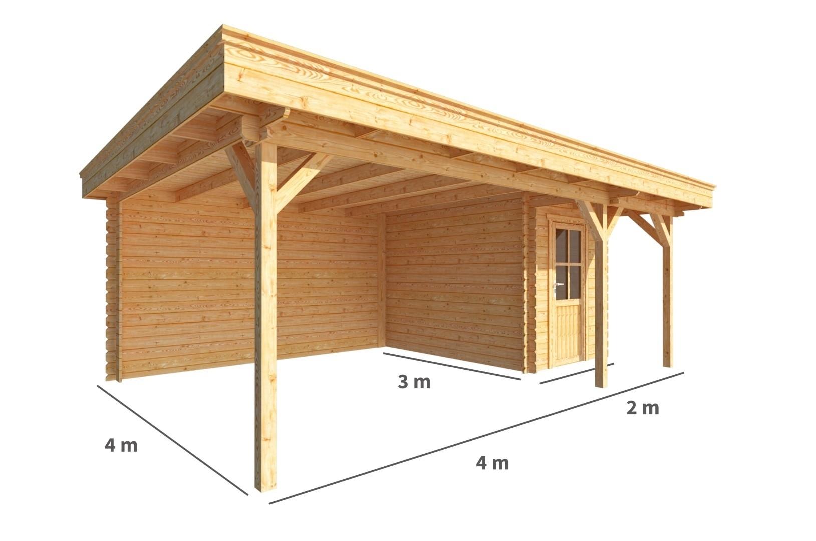 Blokhut met overkapping Lisa 600 cm bij 300 cm diep Plat dak
