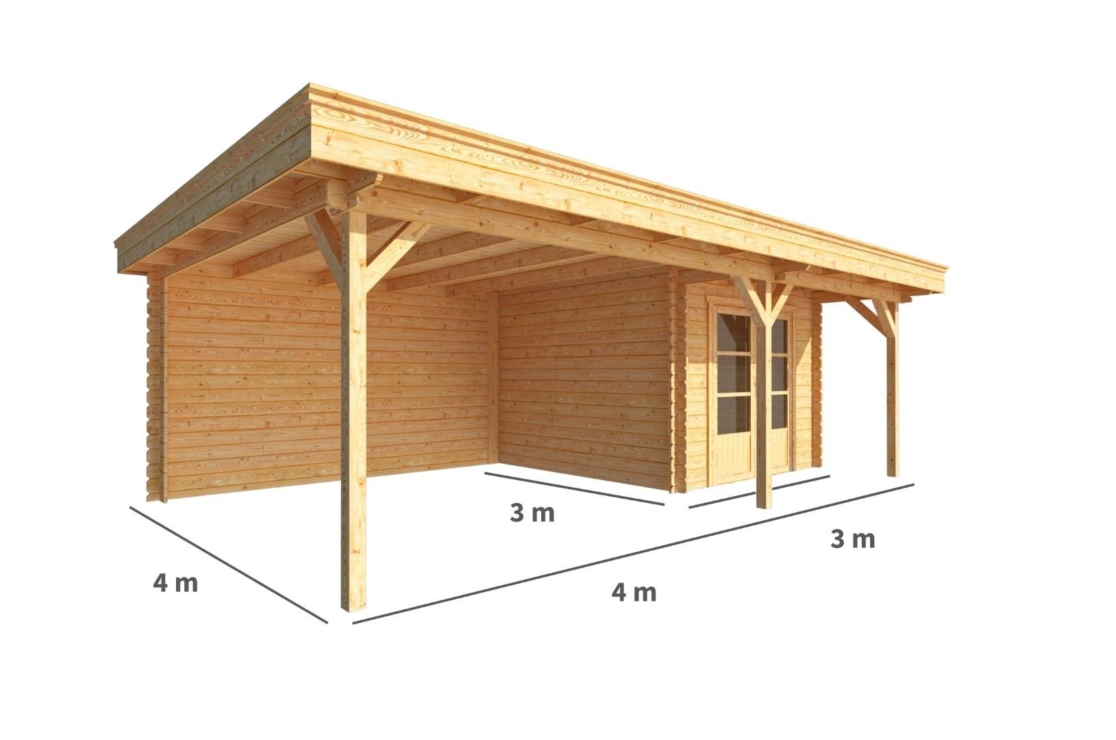 Blokhut met overkapping Lisa 700 cm bij 300 cm diep Plat dak