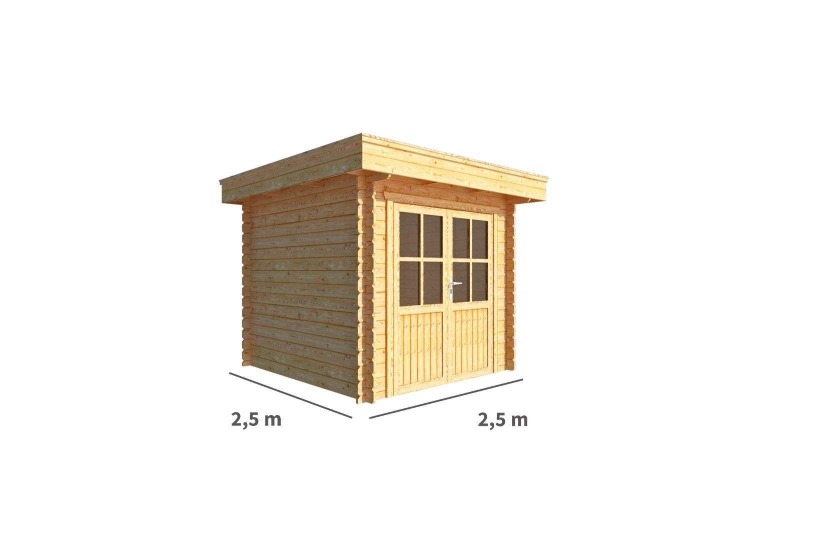 Tuinhuisje Blokhut Lisa 250 cm bij 250 cm diep Plat dak