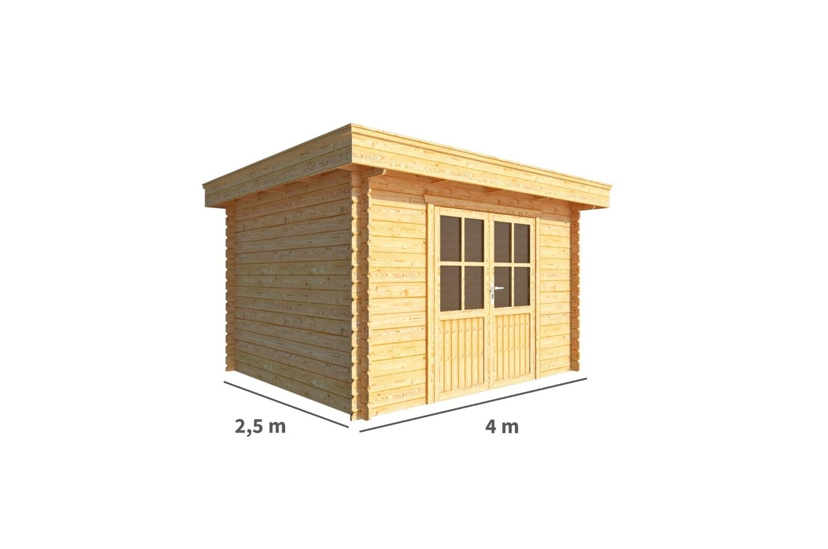 Tuinhuisje Blokhut Lisa 400 cm bij 250 cm diep Plat dak