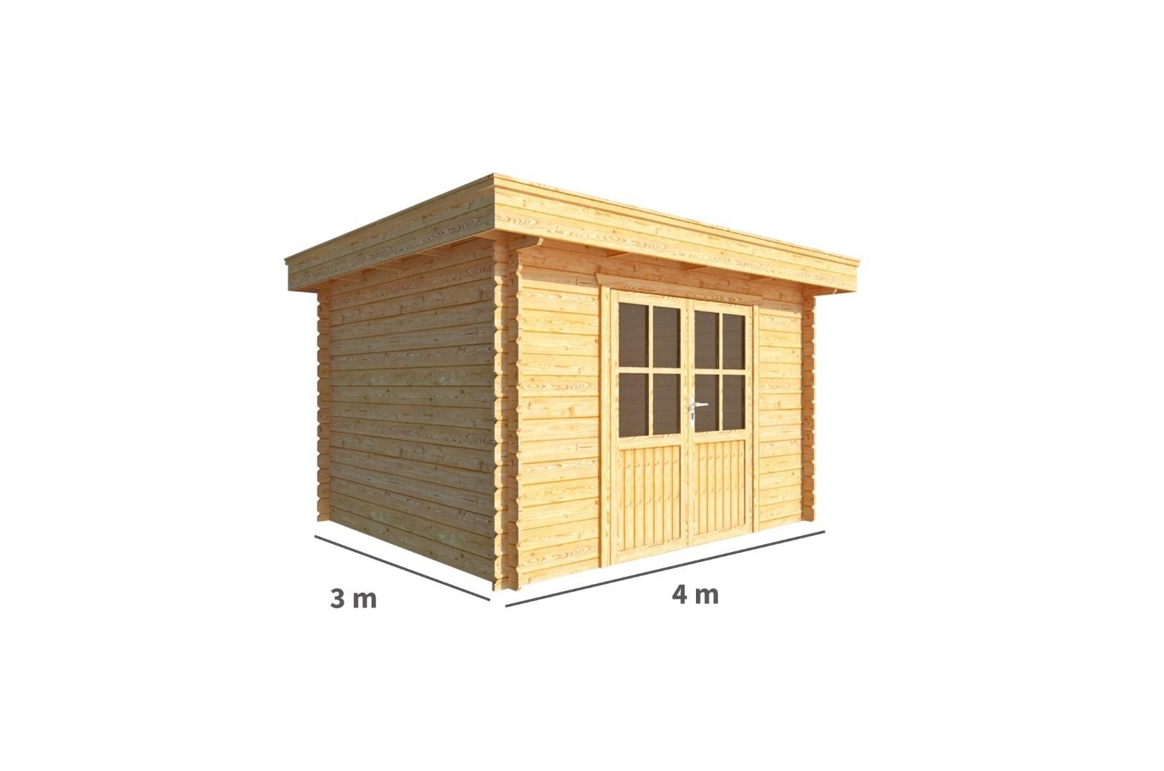 Tuinhuisje Blokhut Lisa 400 cm bij 300 cm diep Plat dak