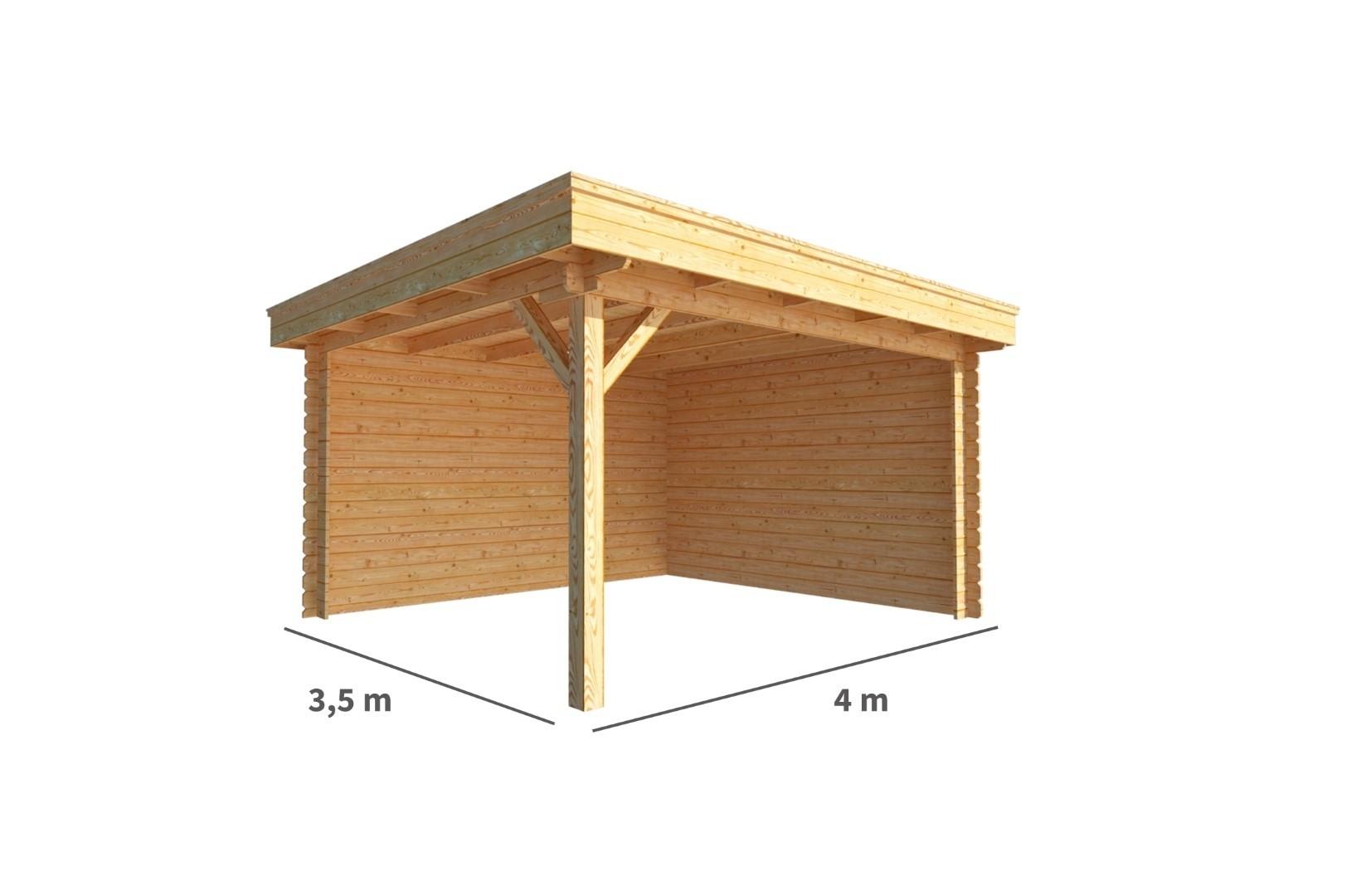Overkapping Lisa 400 cm bij 350 cm diep Plat dak