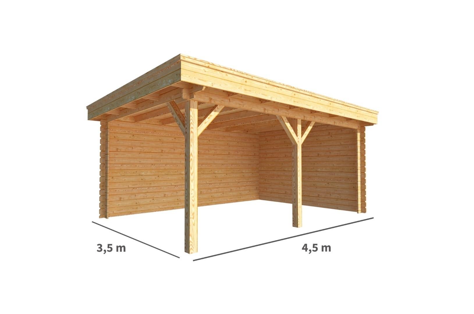 Overkapping Lisa 450 cm bij 350 cm diep Plat dak