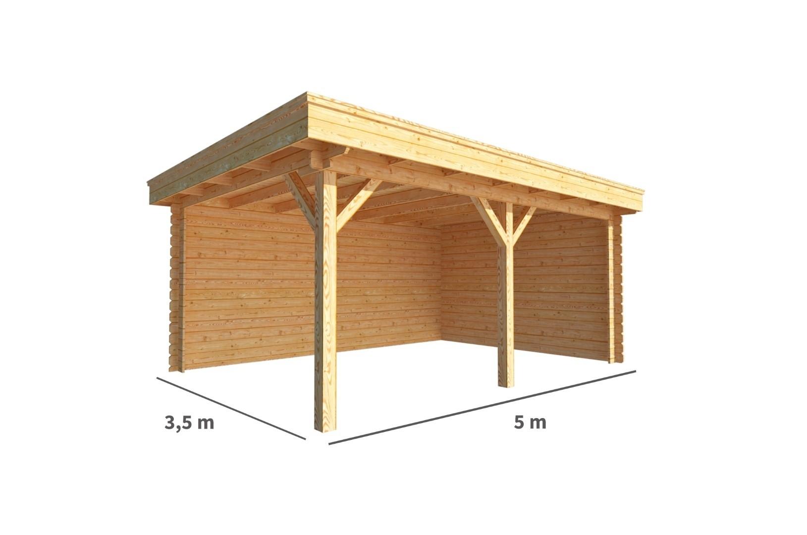 Overkapping Lisa 500 cm bij 350 cm diep Plat dak