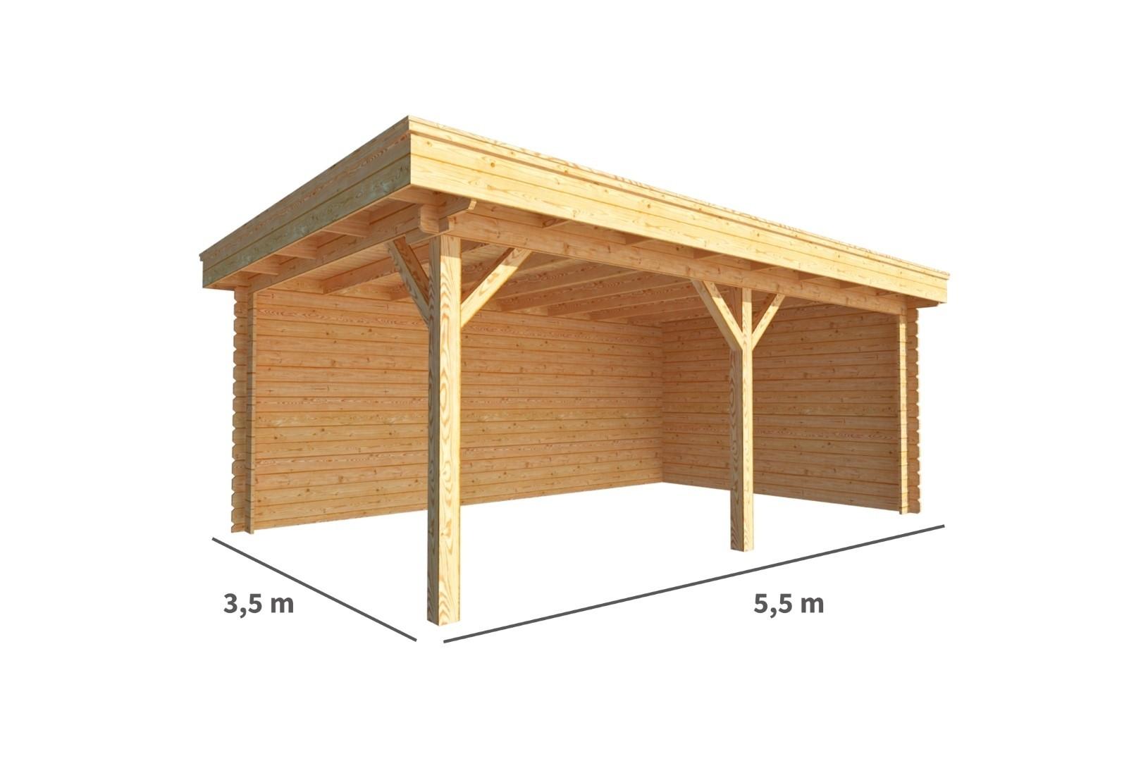 Overkapping Lisa 550 cm bij 350 cm diep Plat dak