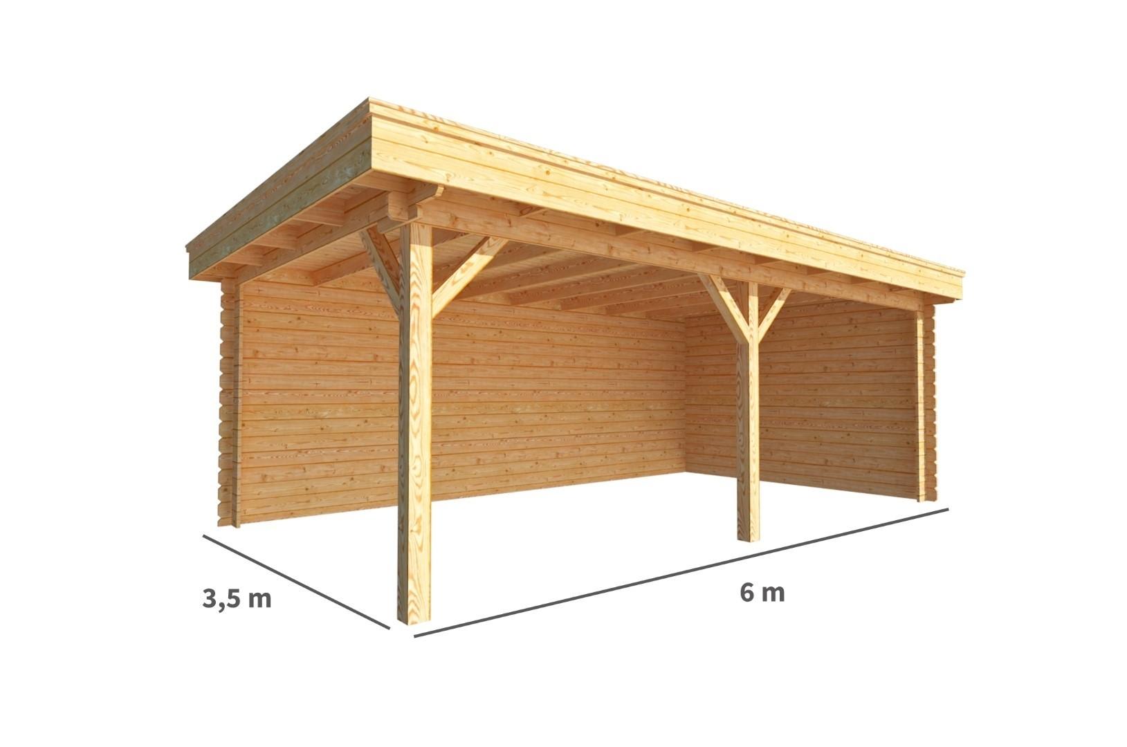 Overkapping Lisa 600 cm bij 350 cm diep Plat dak