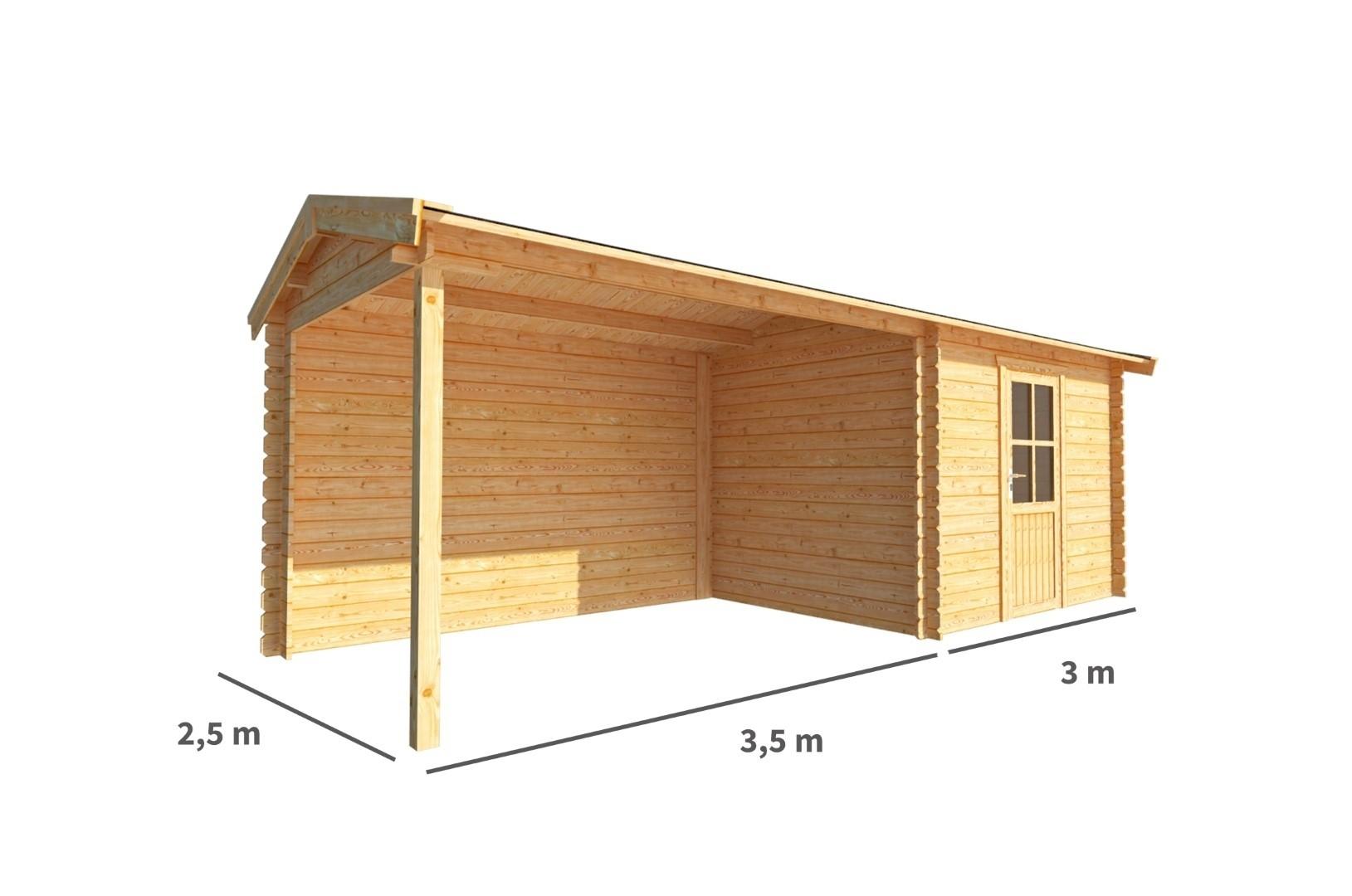 Blokhut met overkapping Fenna 650 cm bij 250 cm diep Zadeldak
