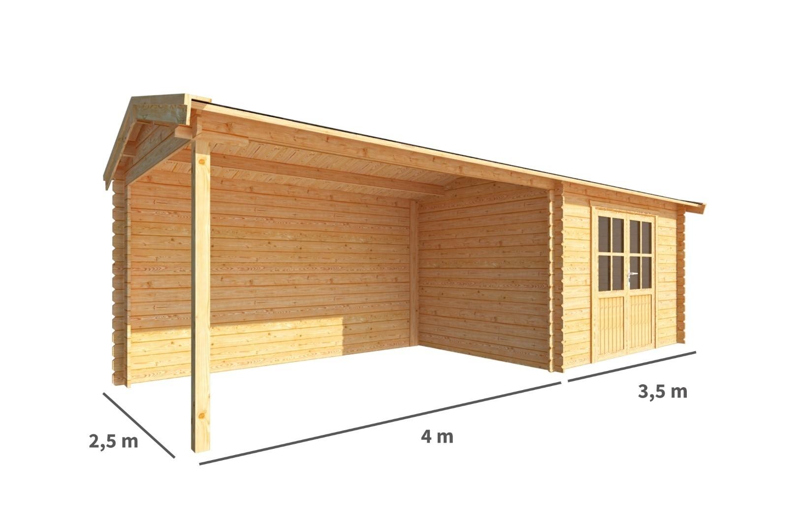 Blokhut met overkapping Fenna 750 cm bij 250 cm diep Zadeldak