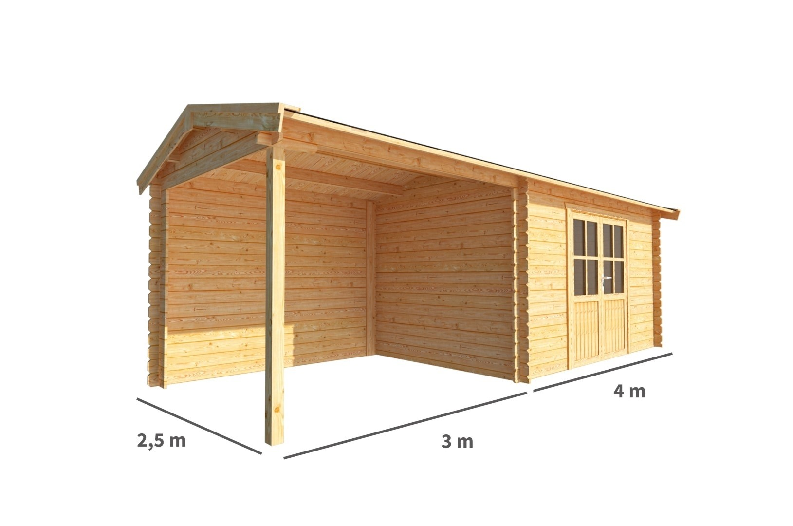 Blokhut met overkapping Fenna 700 cm bij 250 cm diep Zadeldak