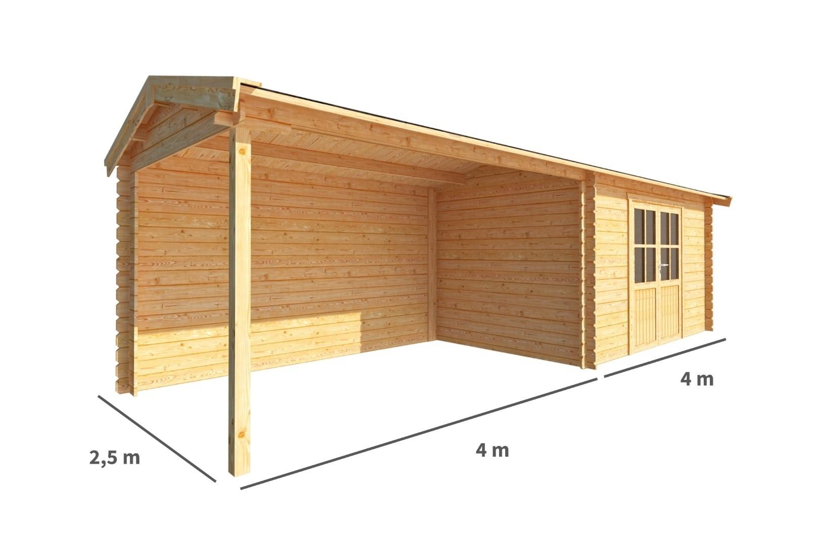Blokhut met overkapping Fenna 800 cm bij 250 cm diep Zadeldak