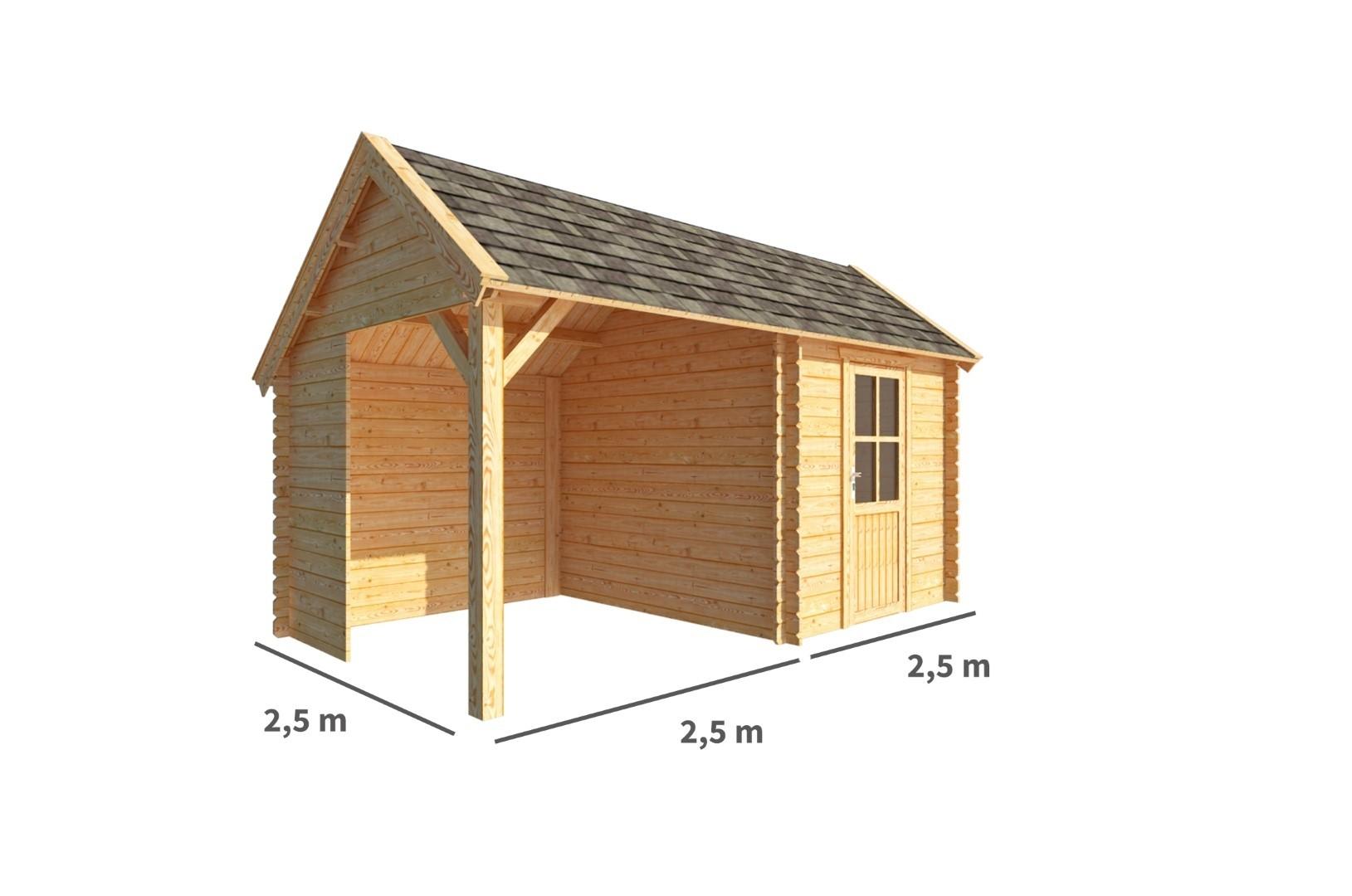 Blokhut met overkapping Michelle 500 cm bij 250 cm diep Kapschuurdak