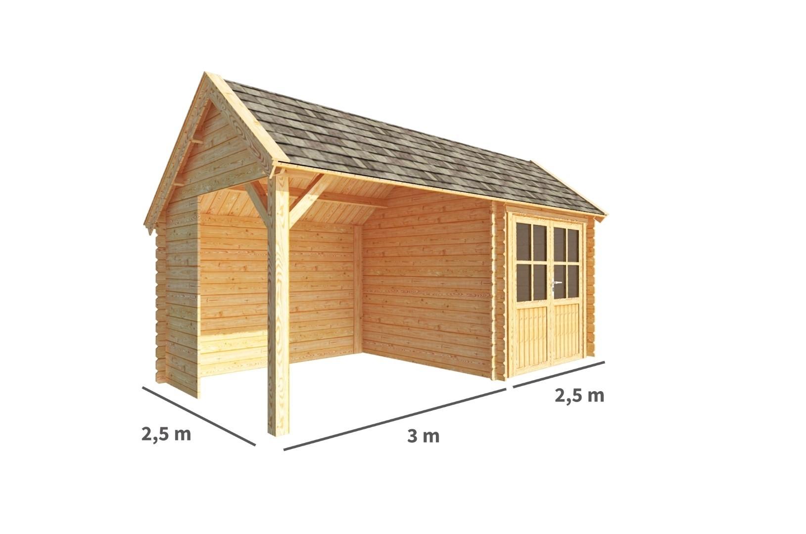 Blokhut met overkapping Michelle 550 cm bij 250 cm diep Kapschuurdak