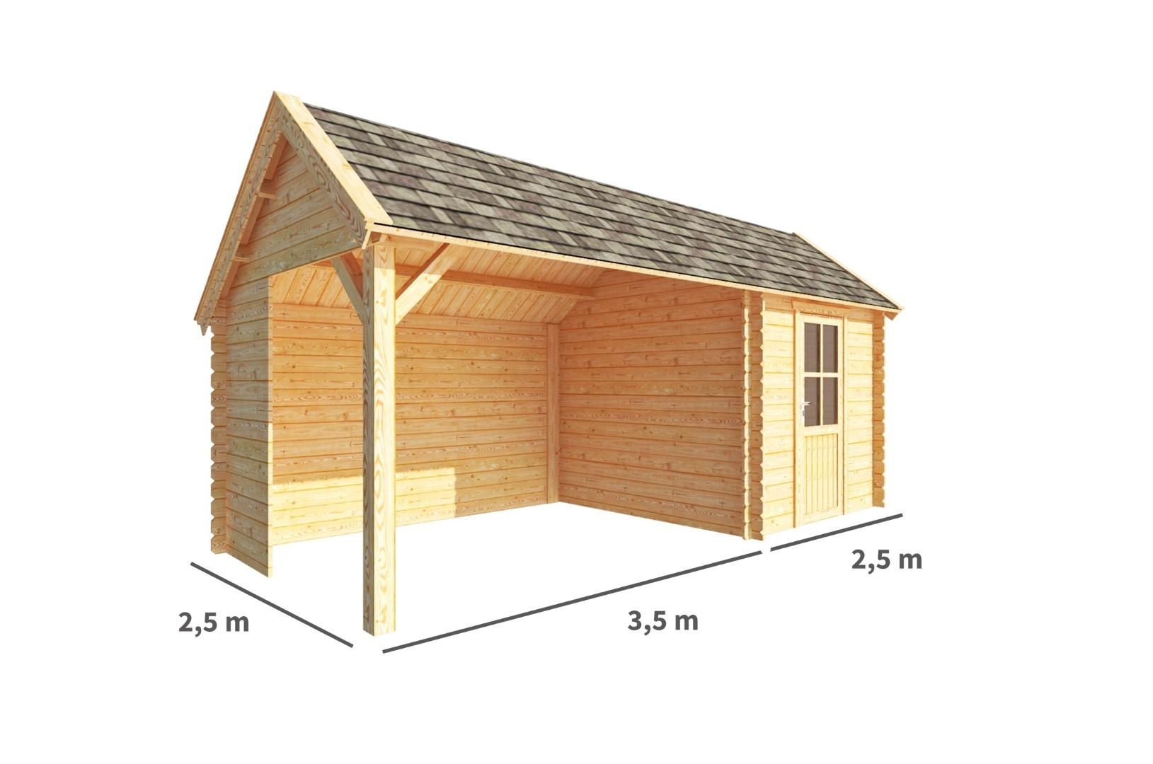 Blokhut met overkapping Michelle 600 cm bij 250 cm diep Kapschuurdak