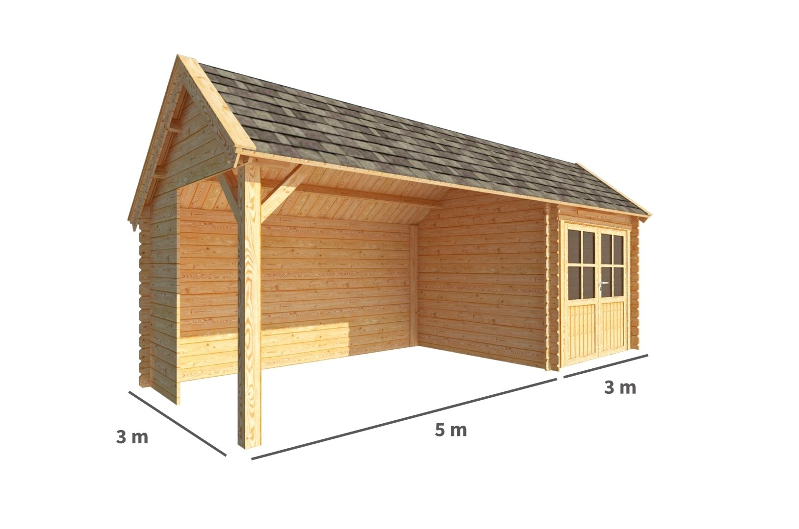 Blokhut met overkapping Michelle 800 cm bij 300 cm diep Kapschuurdak