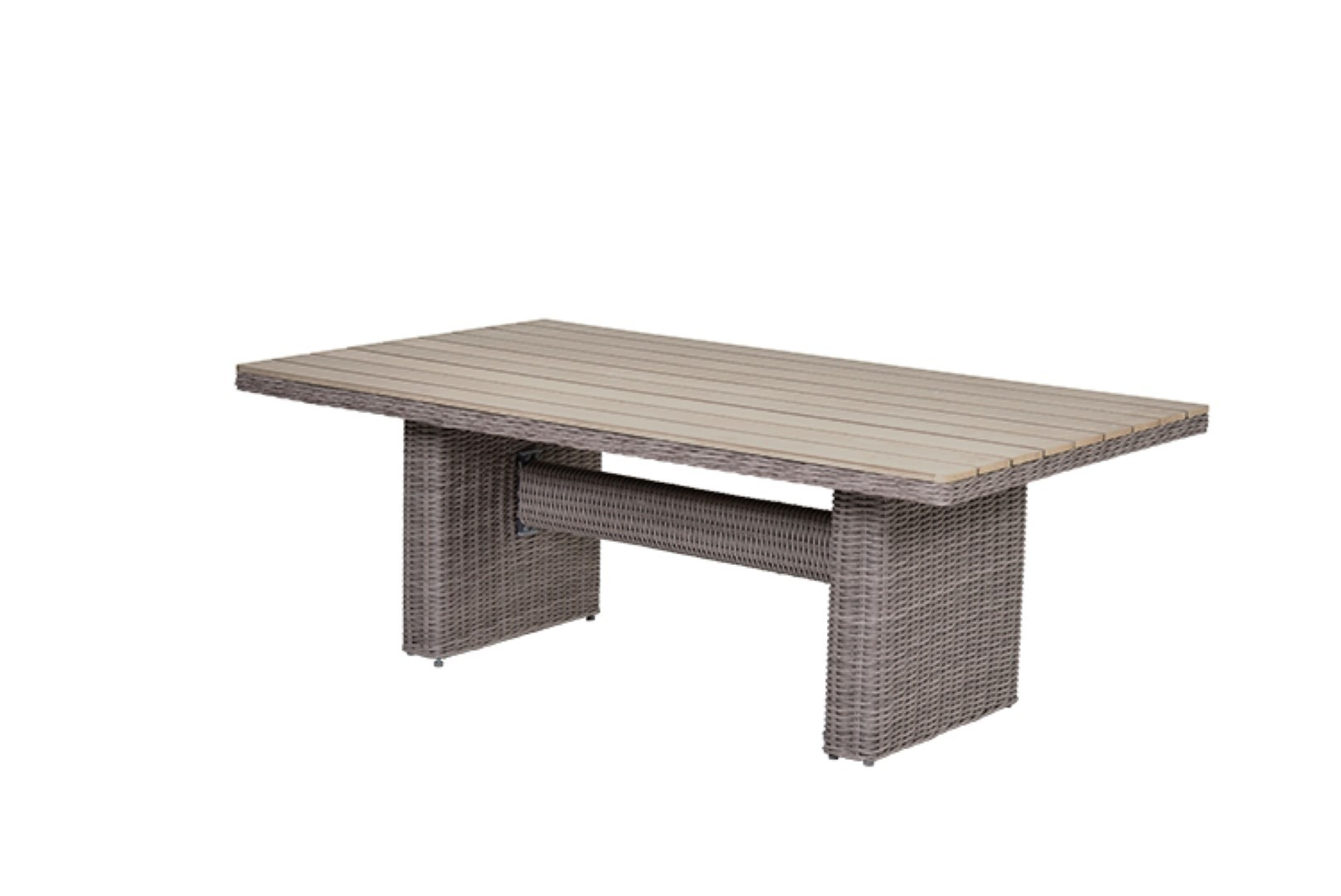 Tennessee Lounge dining tafel 180x100 cm organic grey 5 mm sand polywood