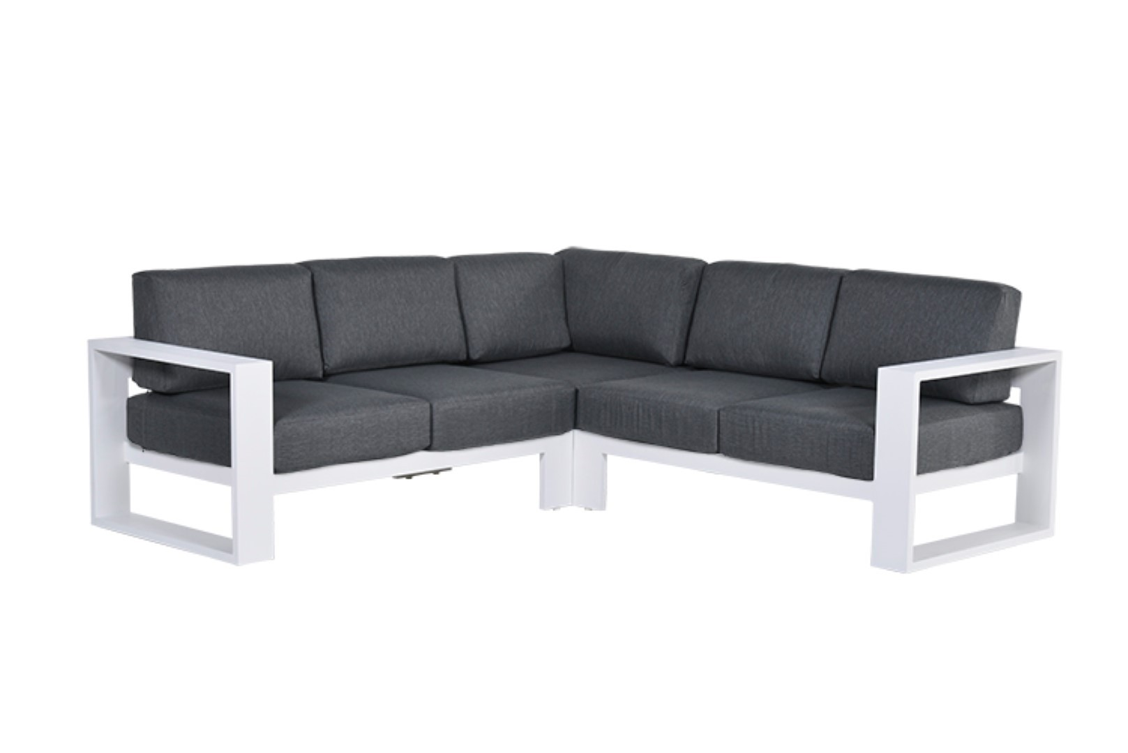 Cube lounge hoekset 3-delig mat white reflex black