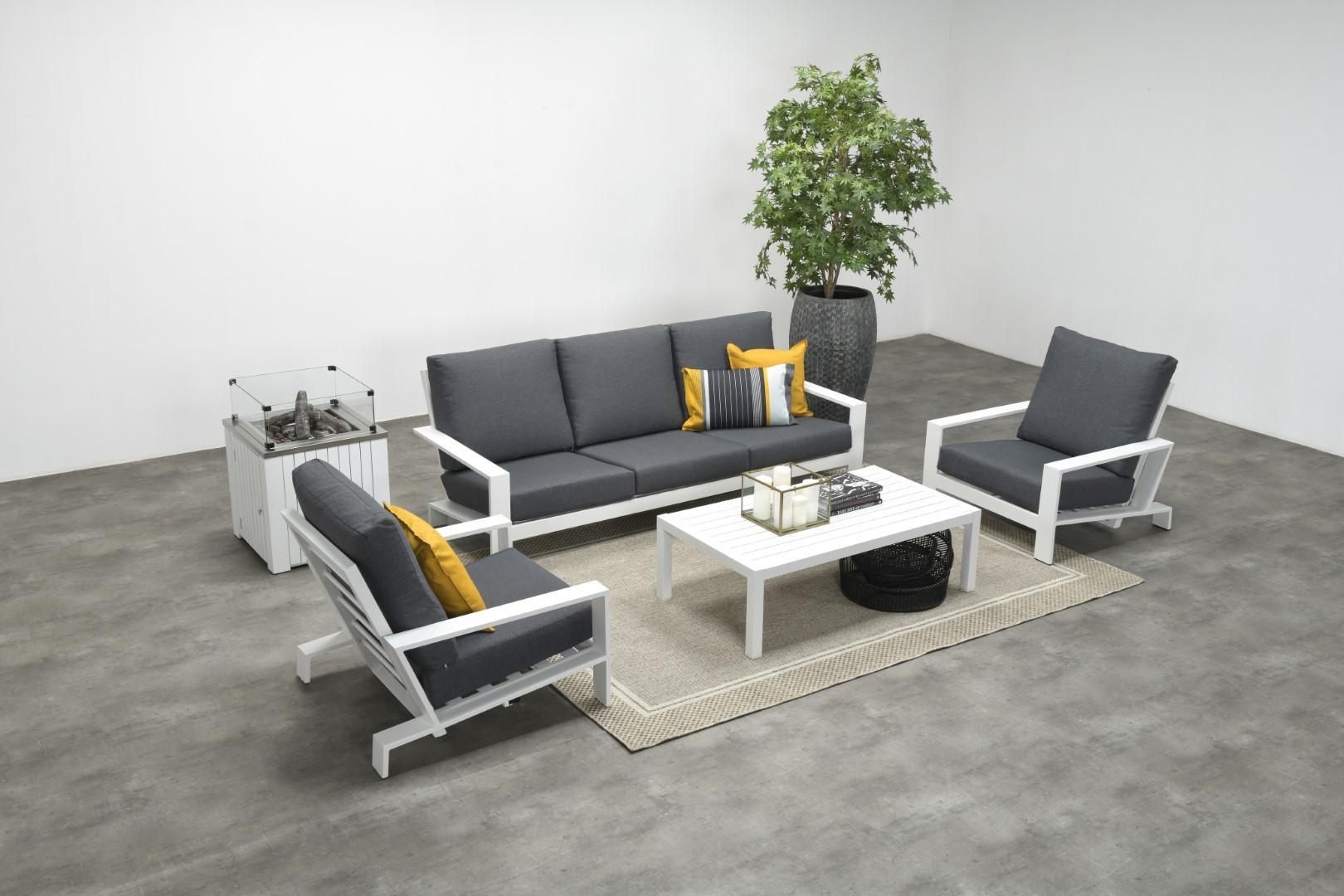 Lincoln lounge tafel 140x70 mat wit