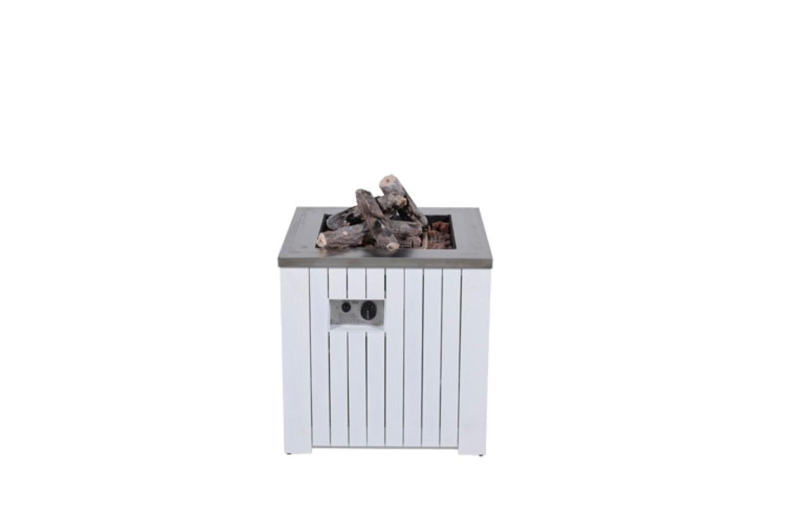 Cozy Living sfeerhaard Faro mat white aluminium 60x60 cm