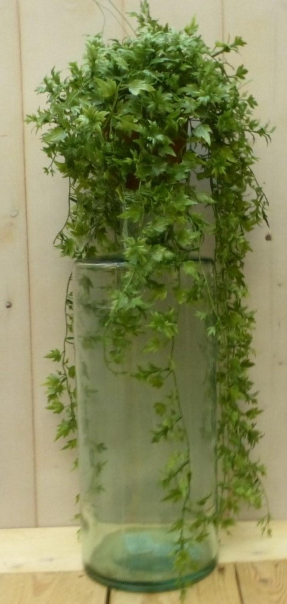 Kunsthangplantje groen met grote bladeren in hangpotje 40 cm
