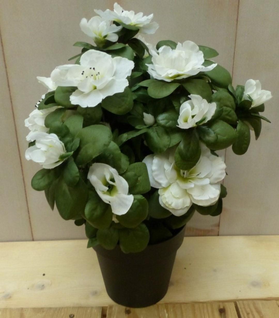 Kunstbloem witte azalea in pot 30 cm