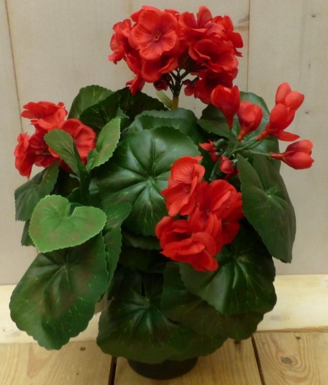 Kunstgeranium rood in potje 25 cm