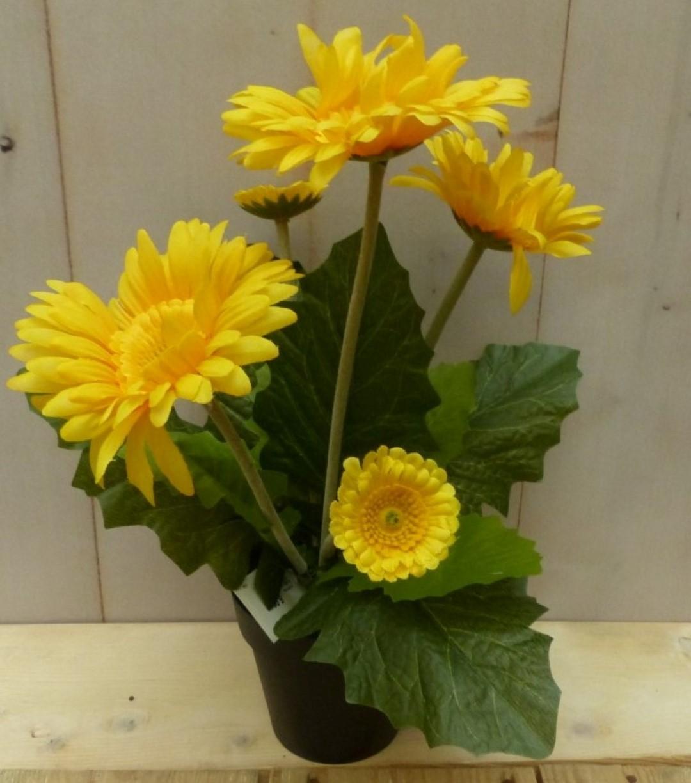 Kunstgerbera geel in pot 25 cm