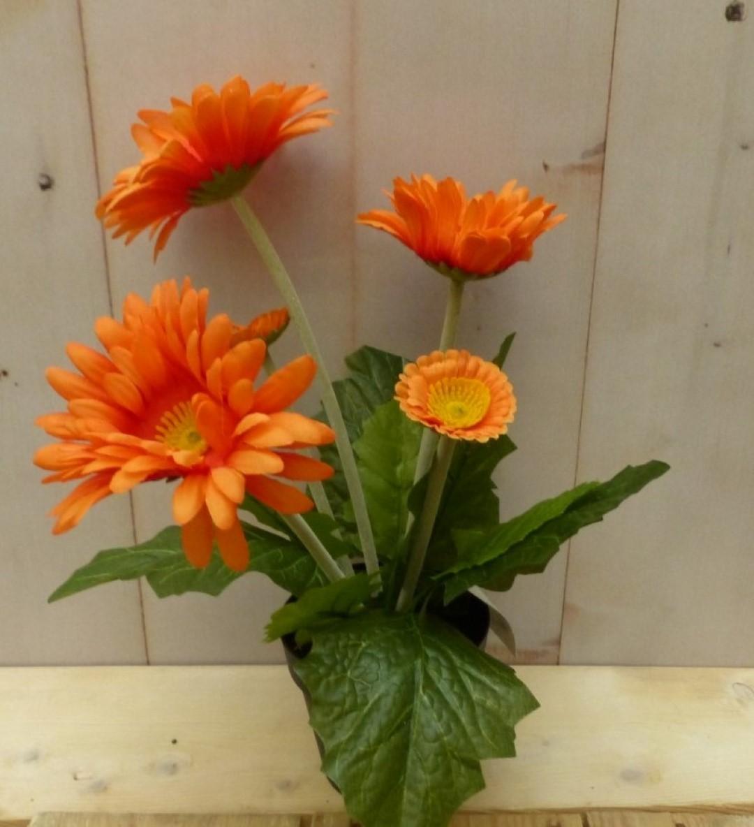 Kunstgerbera oranje in pot 25 cm
