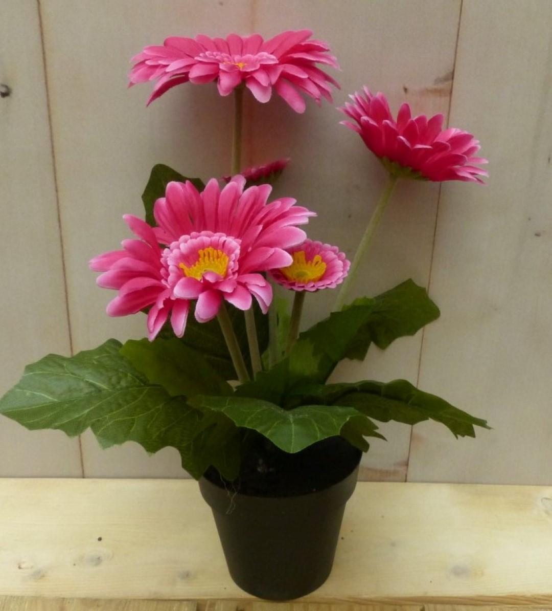 Kunstgerbera roze in pot 25 cm