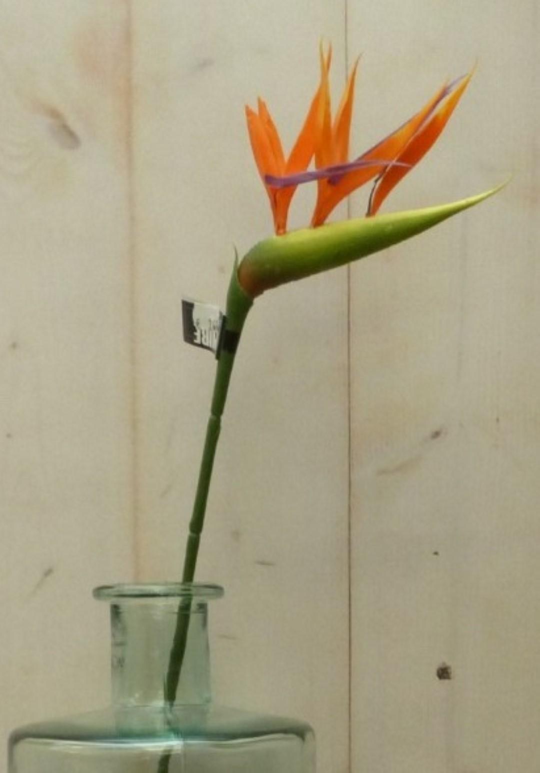 Kunstparadijsvogelbloem strelitzia op steker oranje