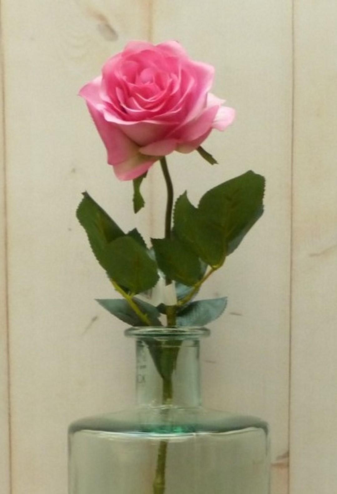 Kunstroos op steker groot roze