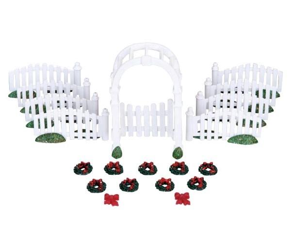 Plastic arbor & picket fences with decorations LEMAX