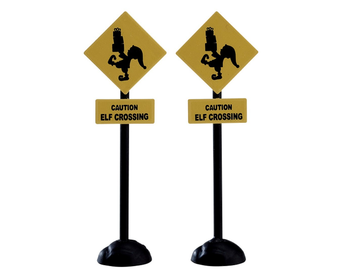 Elf crossing sign set of 2