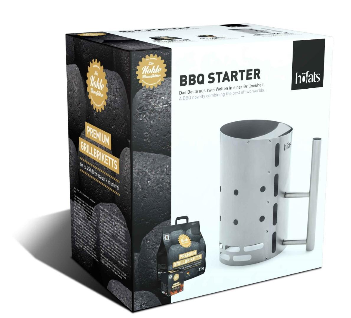 BBQ Starter Inox met briket en brandpasta