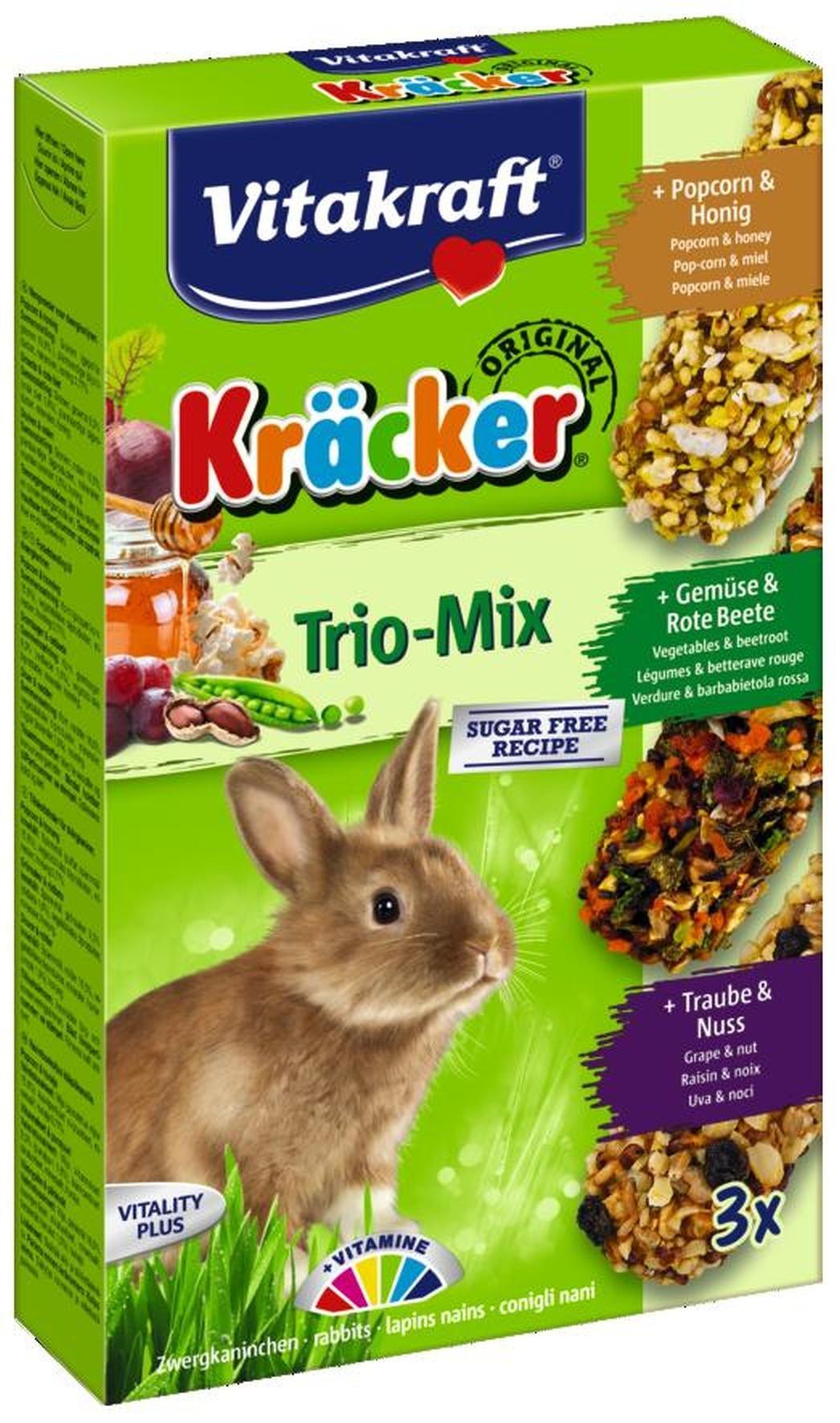 Vitakraft Trio Mix druif/noot-groente/biet-popcorn/honing-kracker dwergkonijn 3in1