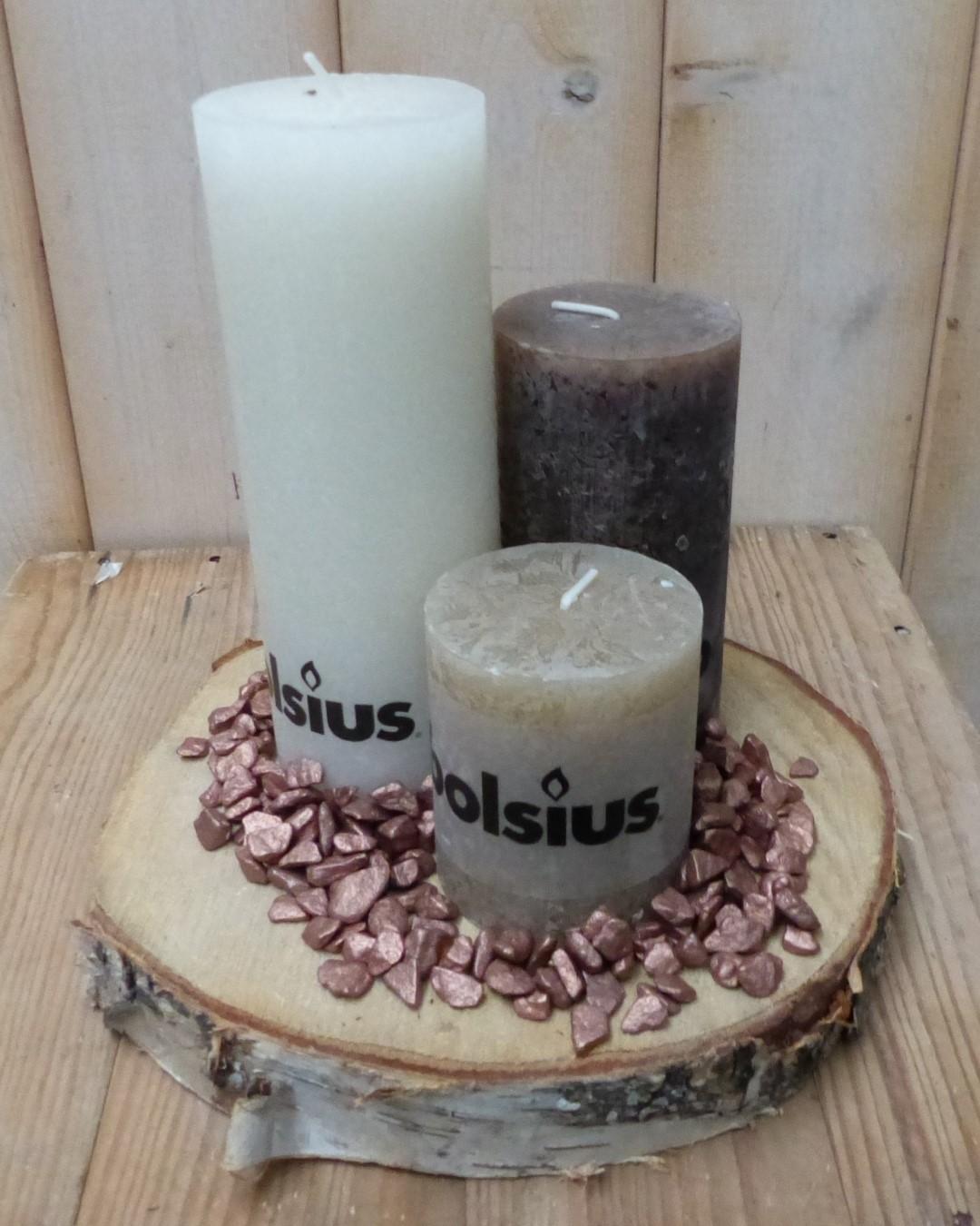 3-delige set kaarsen beige, chocoladebruin en cremewit, grindkleur: koper, dia. circa 30 cm