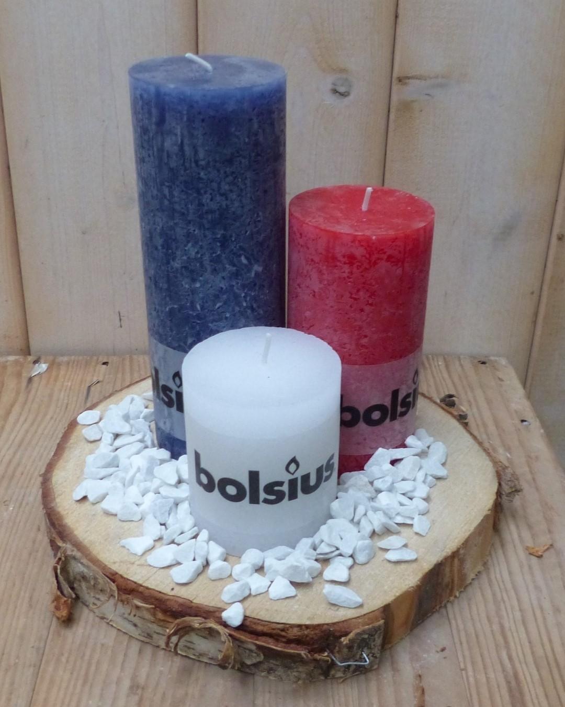 3-delige set kaarsen blauw, sneeuwwit en rood, grindkleur: wit, dia. circa 30 cm