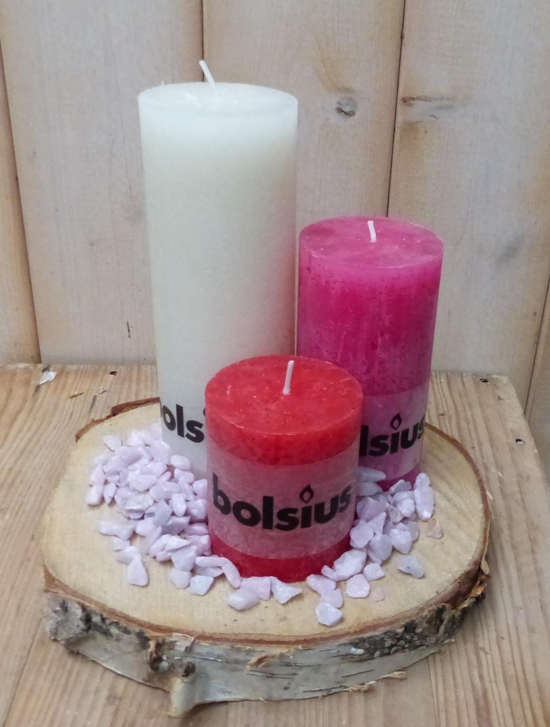 3-delige set kaarsen cremewit, roze en rood, grindkleur: paarsroze, dia. circa 30 cm