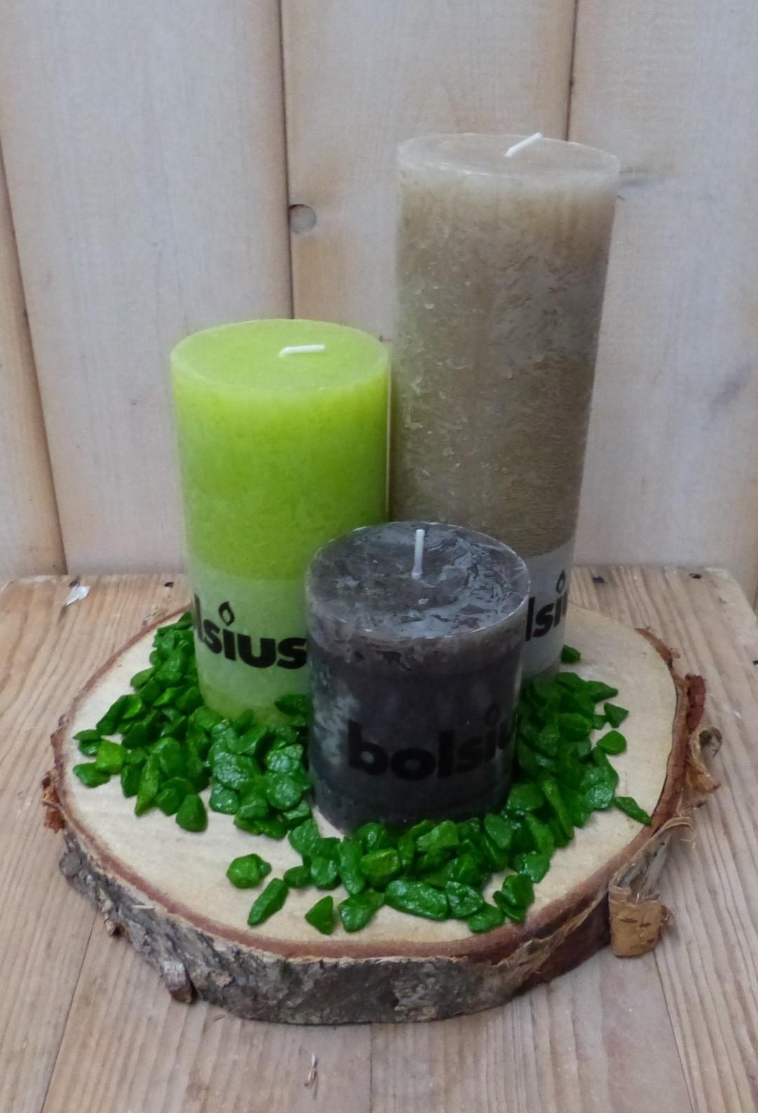 3-delige set kaarsen fel groen, zwart en beige, grindkleur: mosgroen, dia. circa 30 cm