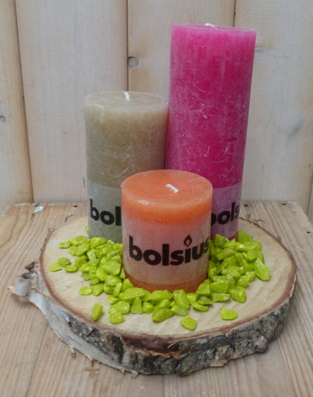 3-delige set kaarsen roze, beige en oranje, grindkleur: limoengroen, dia. circa 30 cm
