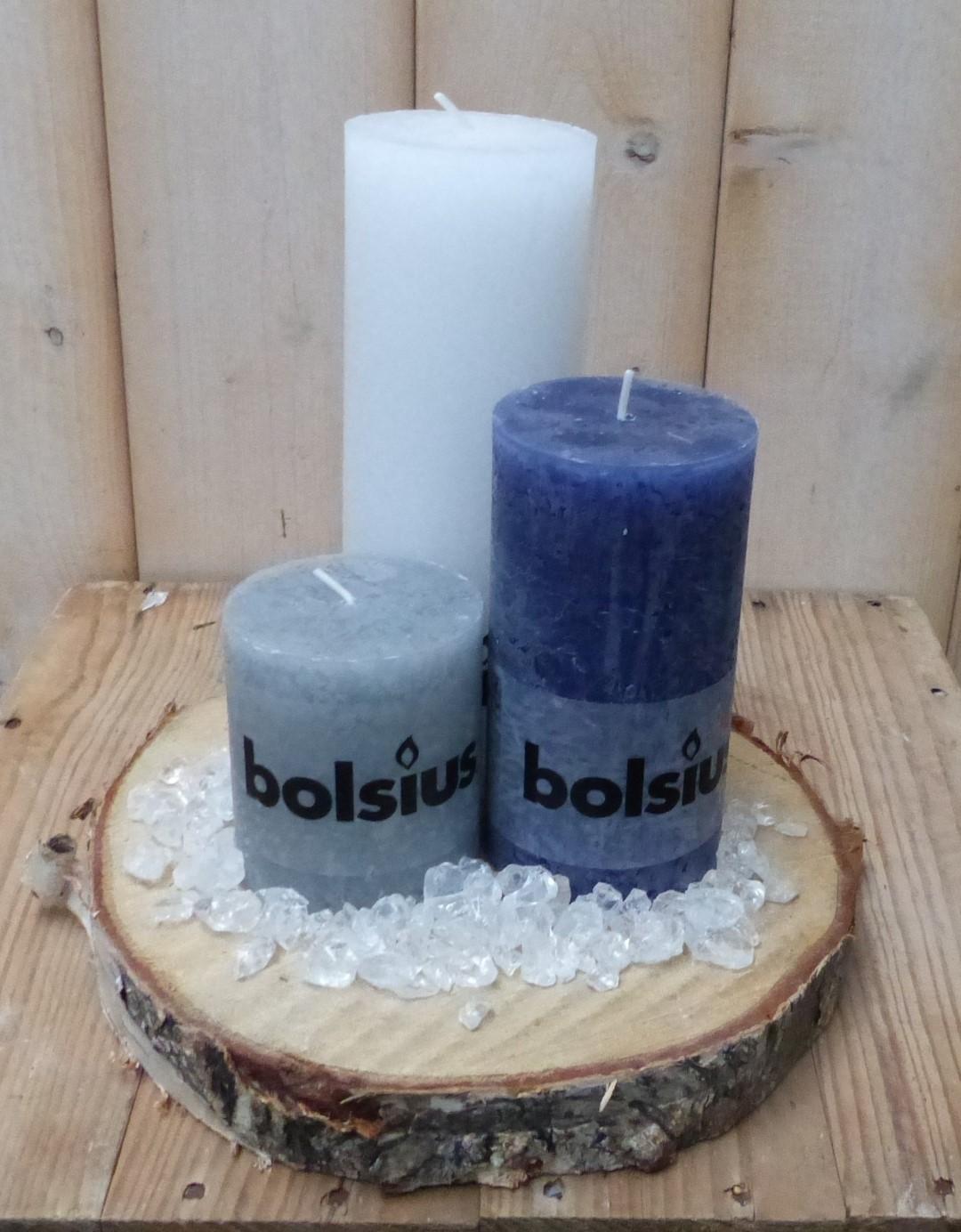 3-delige set kaarsen sneeuwwit, blauw en grijs, grindkleur: doorzichtig, dia. circa 30 cm