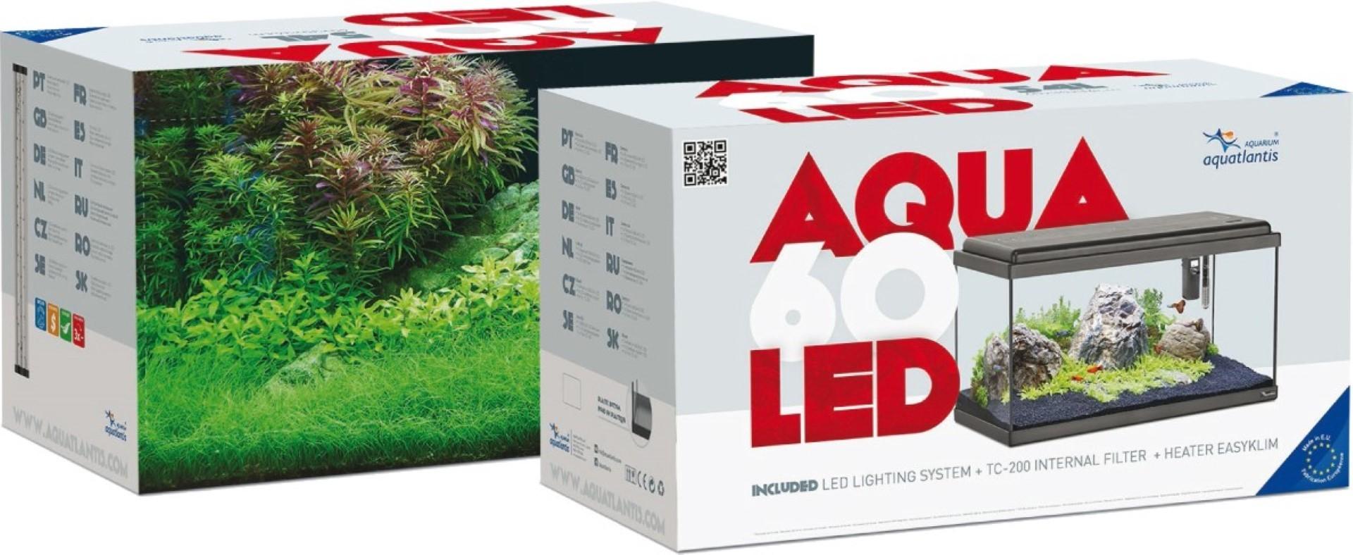 ADM aquarium aqua 60 LED zwart