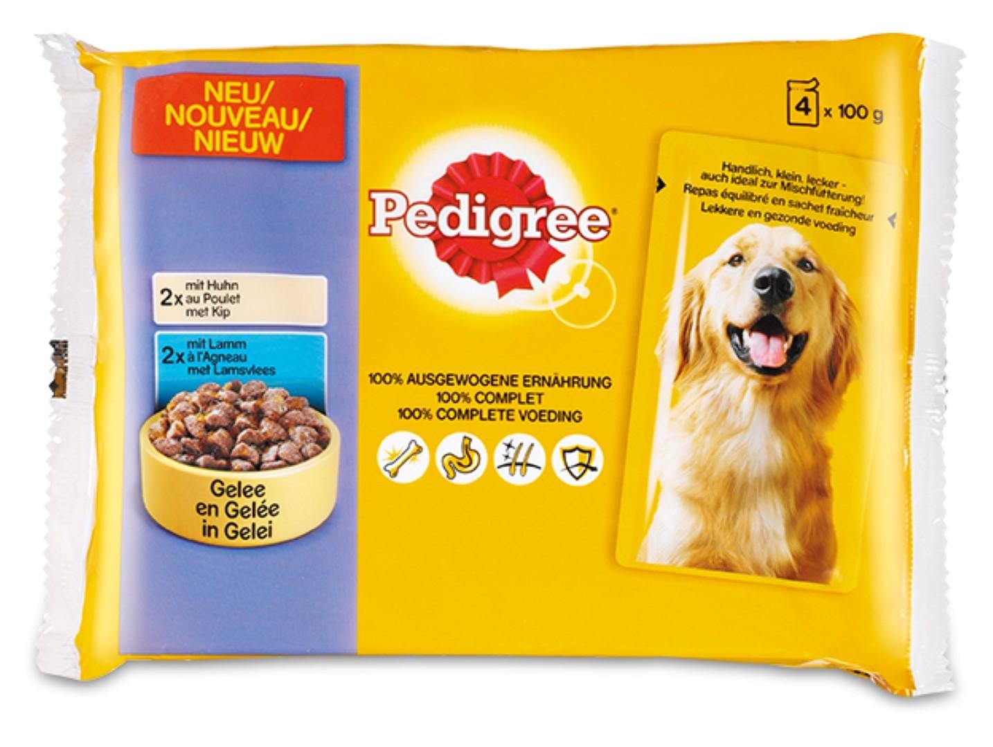 3 stuks! Hondenvoer Kip & Lam in gelei maaltijdzakjes multipack 4x100 g