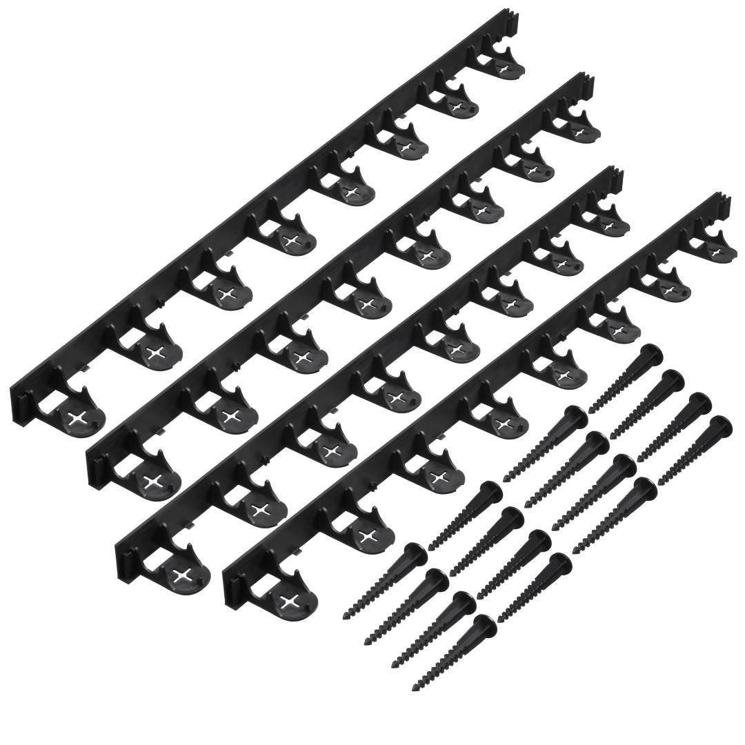 Grasranden PP/PE zwart H4,5 cm x 1 m incl. 16 grondpennen set 4 stuks