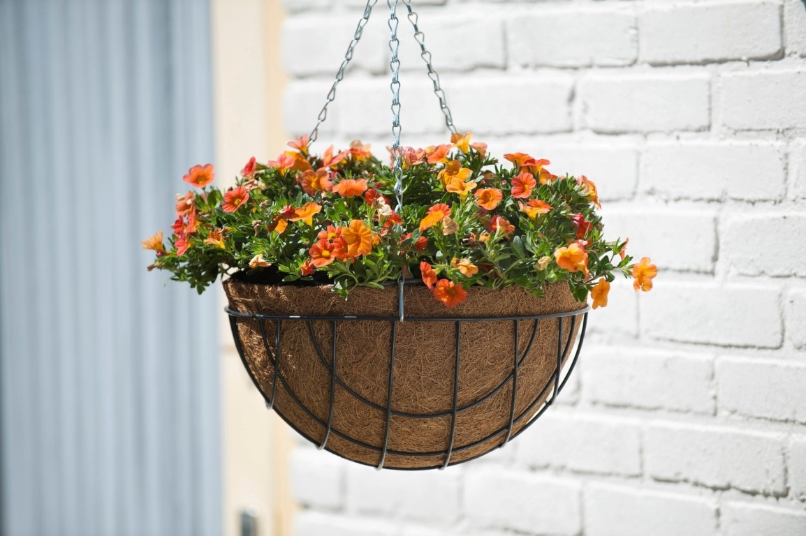 Hanging basket metaaldraad groen geepoxeerd incl. ketting H13x dia. 25cm