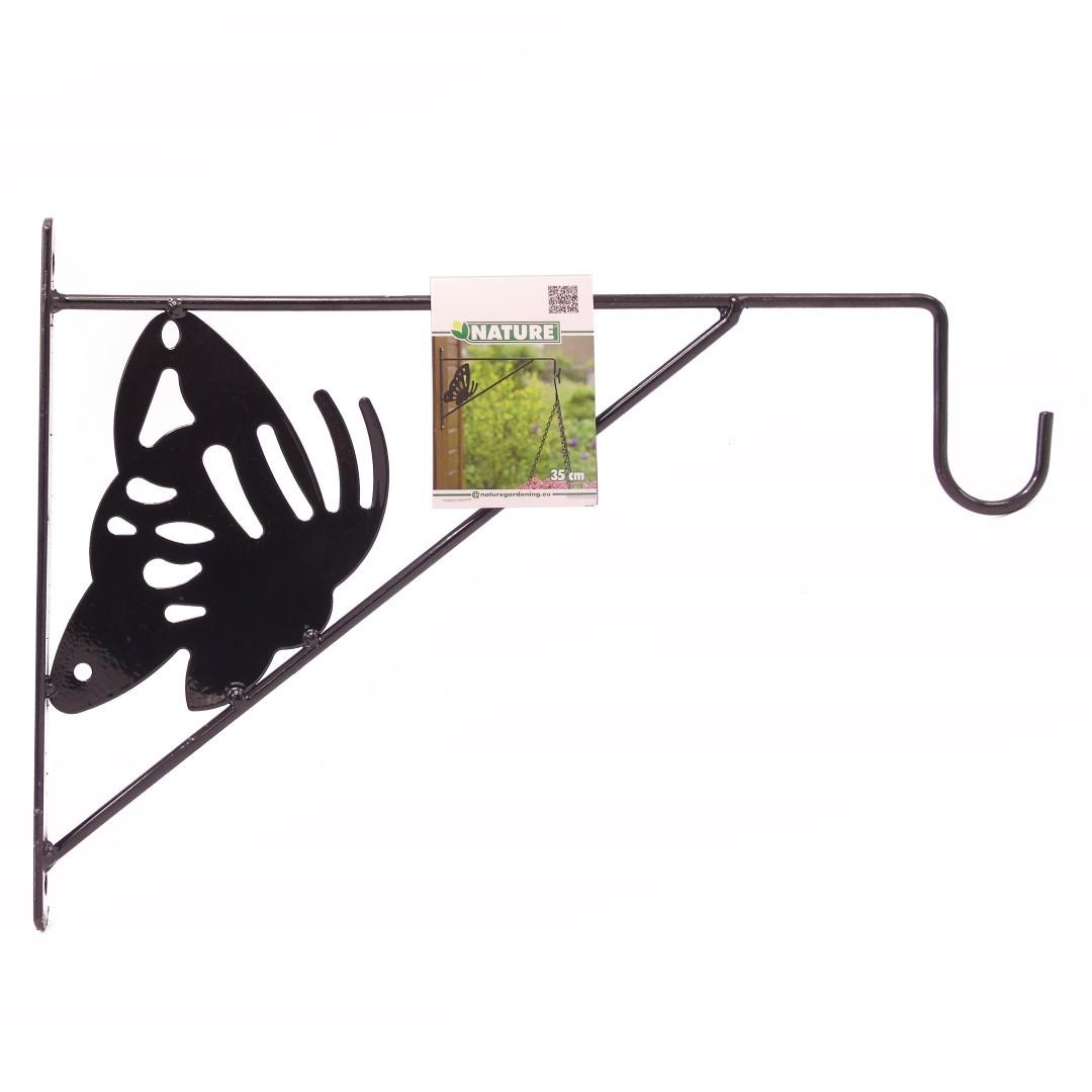 Nature muurhaak decoratief met vlinder grijs h24 x 35cm